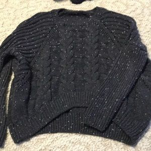 Speckled thick knit sweater